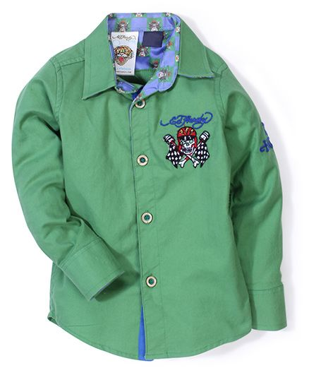 Ed Hardy Full Sleeves Logo Stitched Shirt - Green