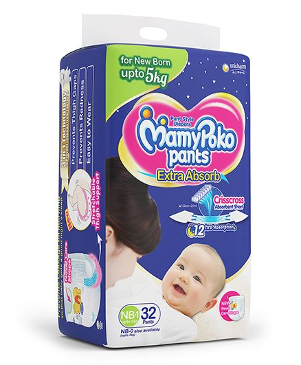 Mamy Poko Extra Absorb Pants New Born Diapers (32 Pieces)
