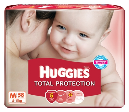 Huggies Total Protection Taped Diapers Medium Size - 58 Pieces