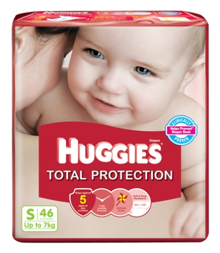 Huggies Total Protection Taped Diapers Small Size - 46 Pieces