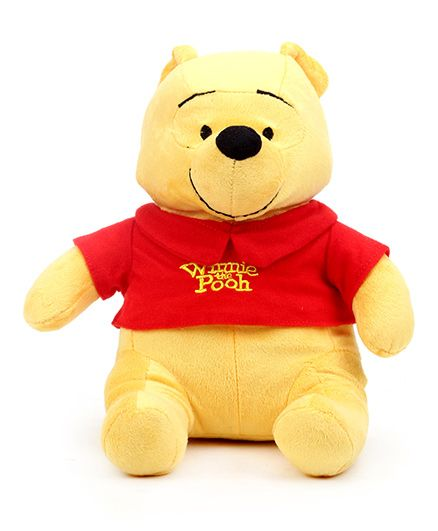 Disney Winnie the Pooh Soft Toy Yellow And Red - Length 12 inches