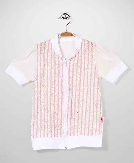 Chic Girls Zip Up Top Pink Stripes - Cream