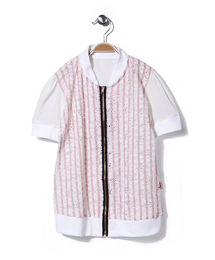 Chic Girls Zip Up Top Pink Stripes - Cream