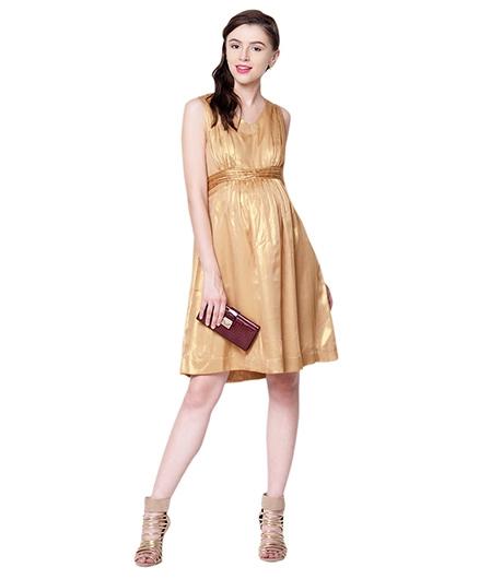 Mamacouture Golden Sleeveless Maternity Dress