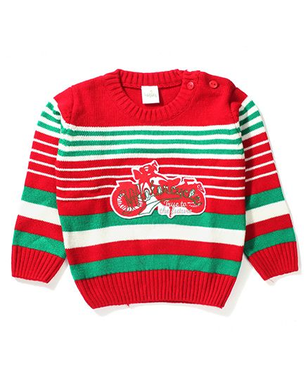 Babyhug Motorcycle Patch Sweater - Red & Green