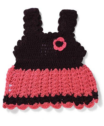 Rich Handknits Sleeveless Sweaters - Pink & Black