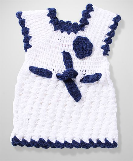 Rich Handknits Cap Sleeves Sweater - White And Blue