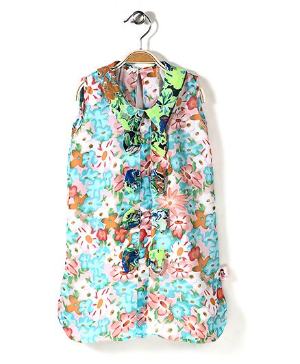 Chic Girls Flower Printed Sleeveless Tunic - Multicolour