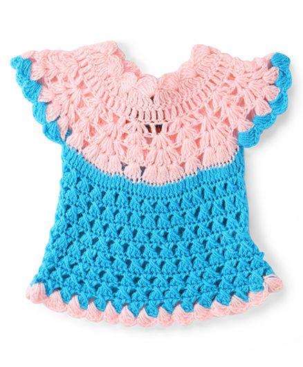 Rich Handknits Cap Sleeves Woolen Dress - Pink And Blue