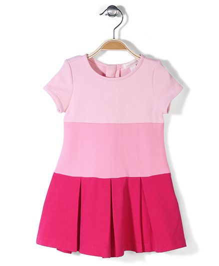 Pumpkin Patch Short Sleeves Block Ponte Dress - Pink
