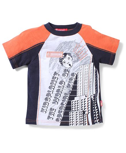 Kidsplanet Half Sleeves T-Shirt Building Print - Black N Orange
