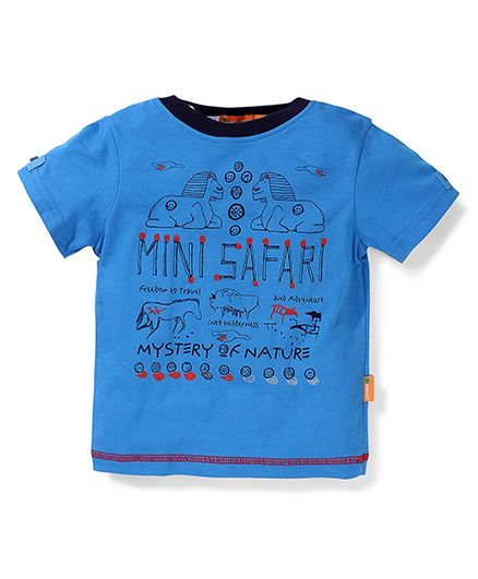 Kidsplanet Half Sleeves T-Shirt Mini Safari Print - Blue