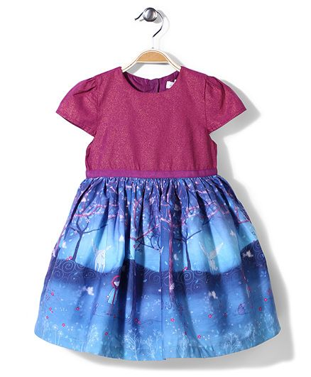 Pumpkin Patch Moonlight Border Print Frock - Blue And Dark Pink