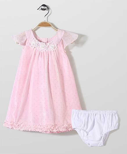 Bebe Wardrobe Short Sleeves Party Dress With Bloomer - Pink