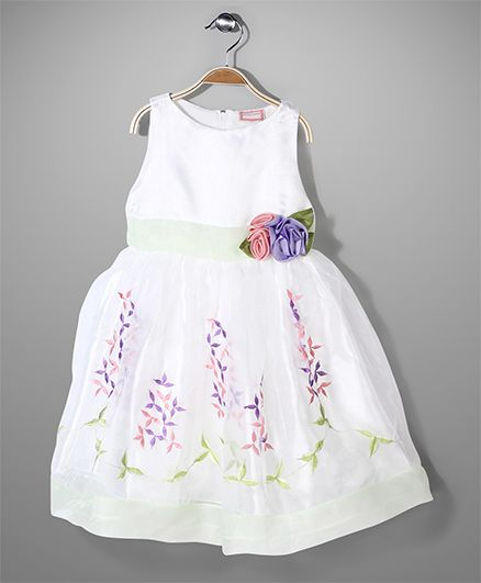 Little Coogie Sleeveless Party Dress Floral Applique - White Green