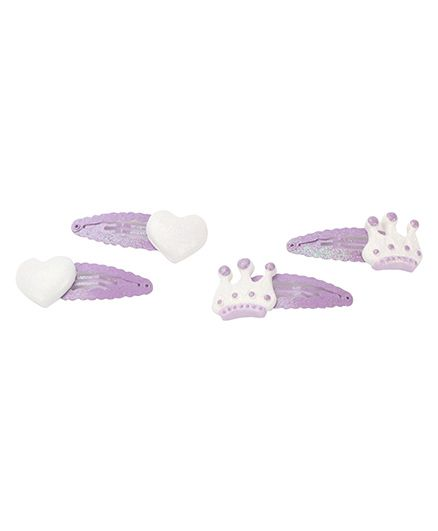 Pumpkin Patch Snap Clips Heart & Crown Design Purple - Pack Of 4