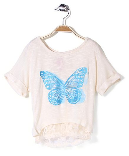 Cuitie Patootie Butterfly Printed Top - Off White
