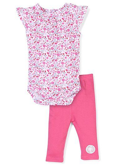 Short Sleeves Onesies And Legging Floral - Pink