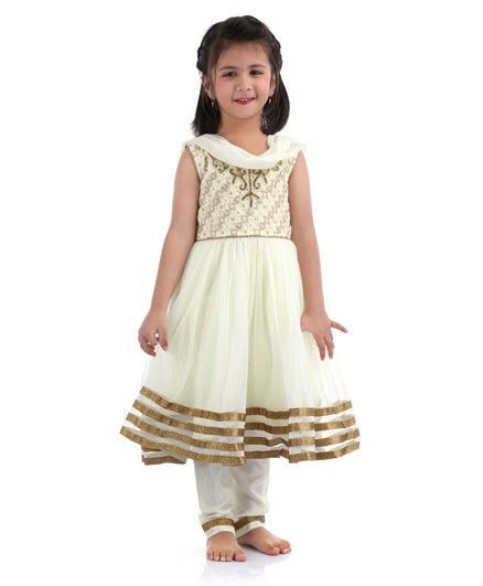 Babyhug Kurti Churidar With Dupatta Bead Detailing - Cream