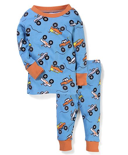 New Jammies Organic Cotton Night Suit Vehicle Print - Blue
