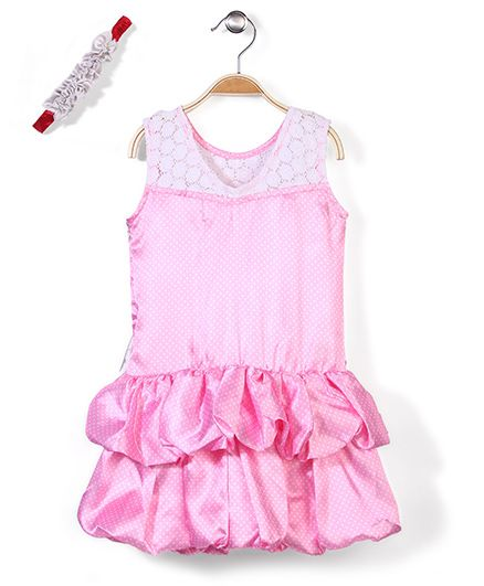 Pinehill Sleeveless Dotted Frock With A Hairband - Pink