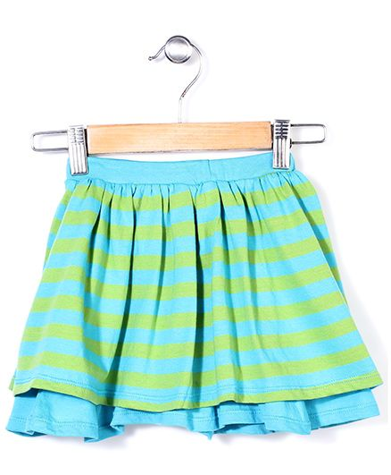 The Dragon & the Rabbit Double Layered Skirt - Green & Blue