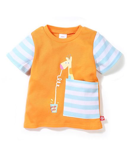 Zutano Giraffe Print Big Pocket Tee - Orange