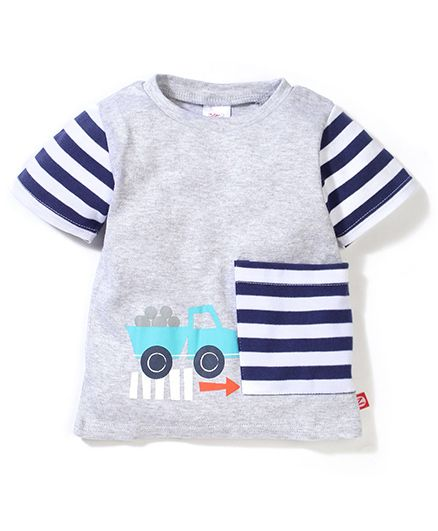 Zutano Truck Print Big Pocket Tee - Grey