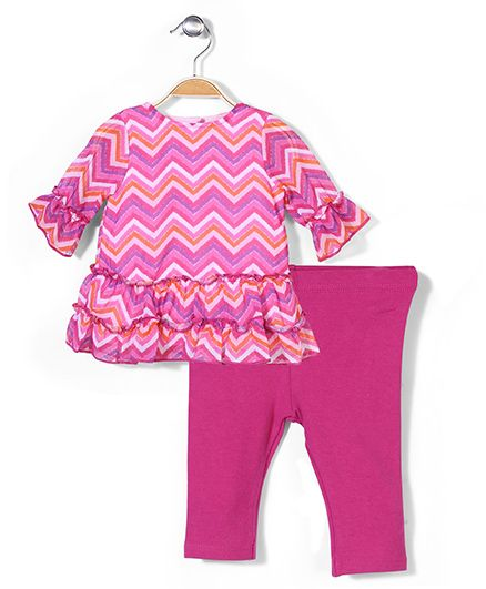 Vitamins Baby Chevron Print Top & Leggings Set - Pink