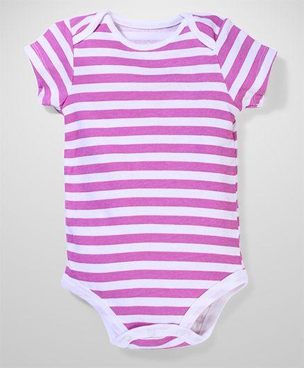 Baby Starters Half Sleeves Cotton Onesies - Purple & White