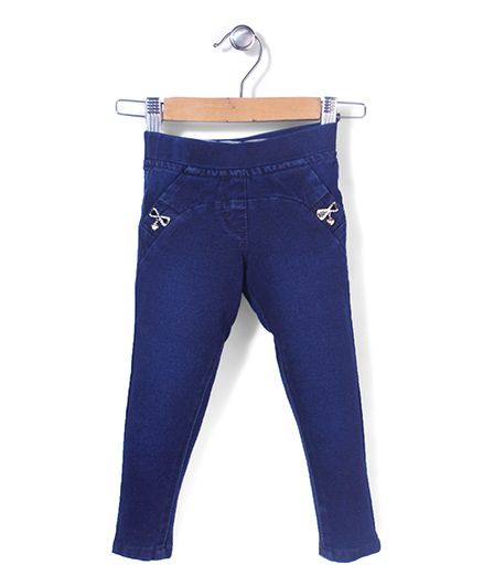 Tiny Girl Full Length Jeggings Bow Applique - Blue