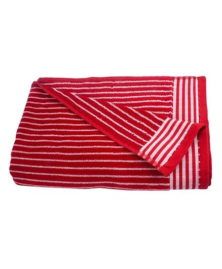 Sassoon Amber Stripe Cotton Terry Bath Towel - Red