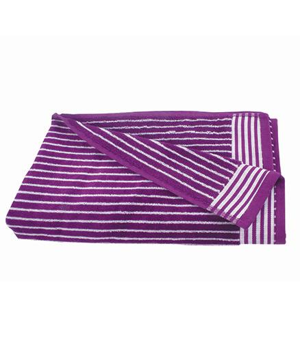 Sassoon Amber Stripe Cotton Terry Bath Towel - Purple