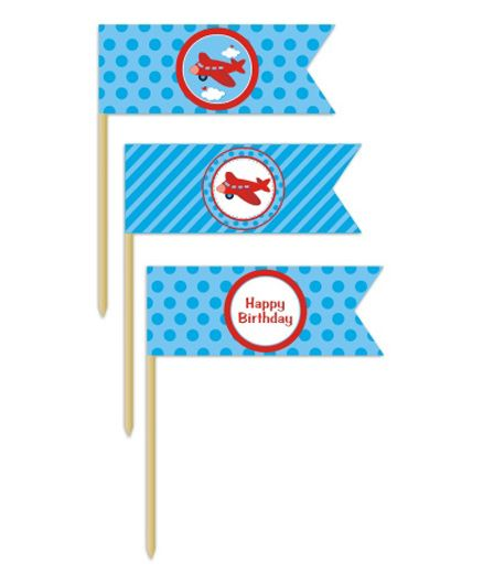 Prettyurparty Airlines Toothpicks- Blue