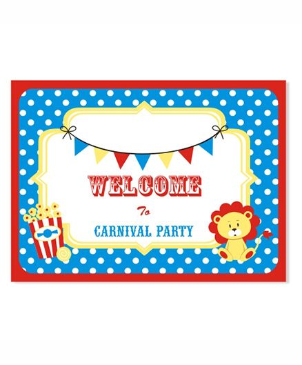 Prettyurparty Carnival Entrance Banner / Door Sign- Blue and Red