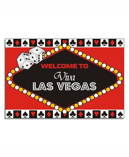 Prettyurparty Casino Entrance Banner / Door Sign- Black and Red