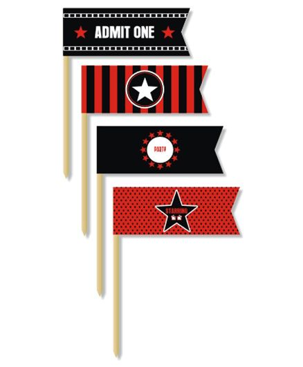 Prettyurparty Hollywood Toothpicks- Black and Red