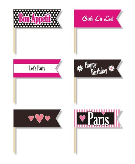 Prettyurparty Paris Toothpicks- Black and Pink