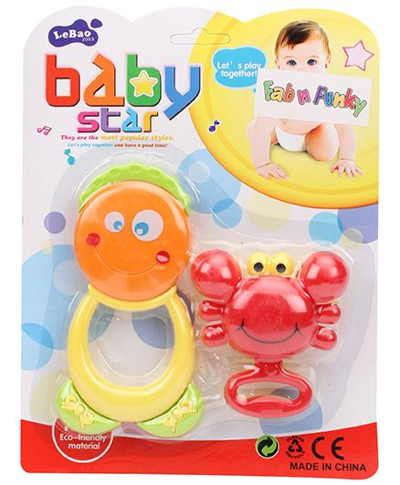 Smiley And Crab Shaped Rattle - Red And Yellow