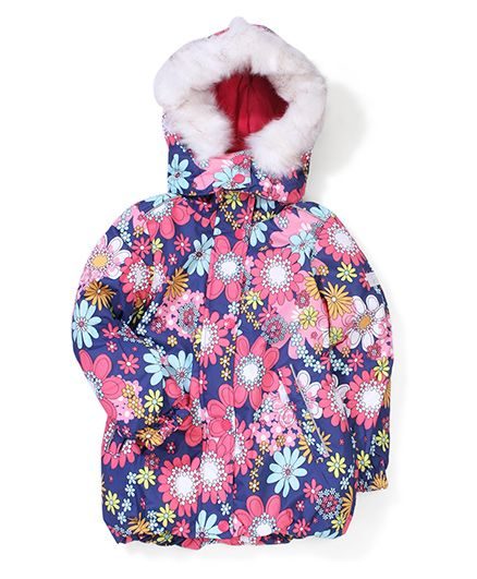 Sela Floral Printed Detachable Hooded Jacket - Blue & Pink