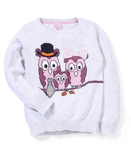 Sela Full Sleeves Owl Family Design Sweater - Grey