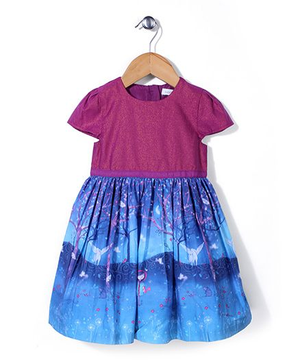 Pumpkin Patch Party Wear Frock Horse Print - Blue Pink