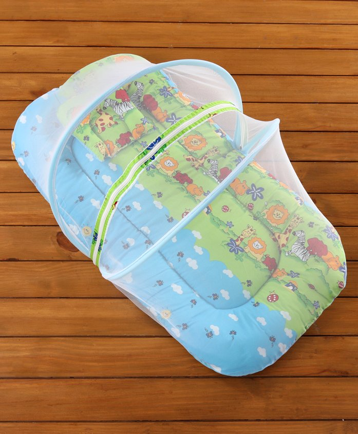 Babyhug Bedding Set With Center Zip Mosquito Net Animals With House Print- Blue