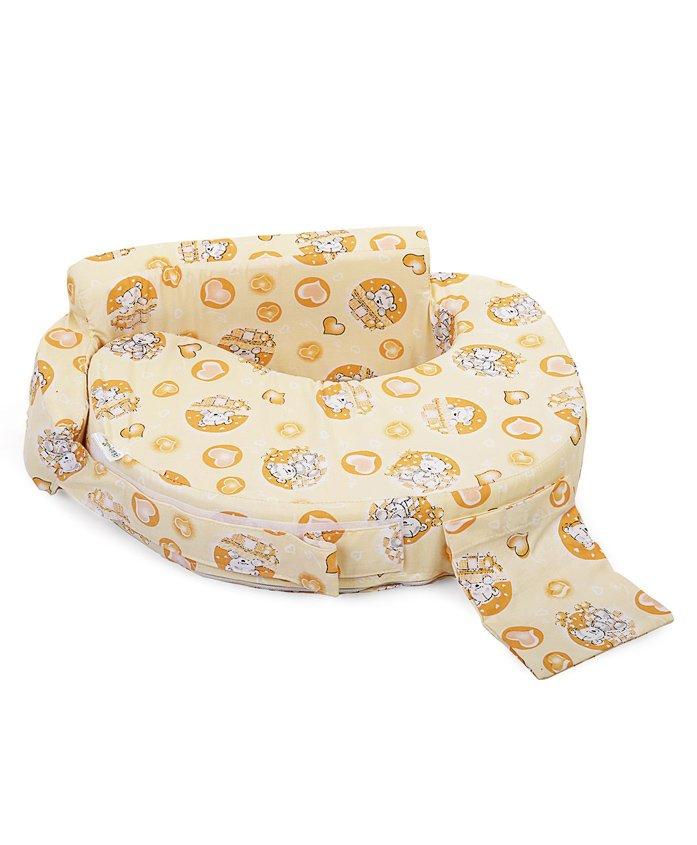 Babyhug Feeding Pillow Teddy & Hearts Print - Yellow