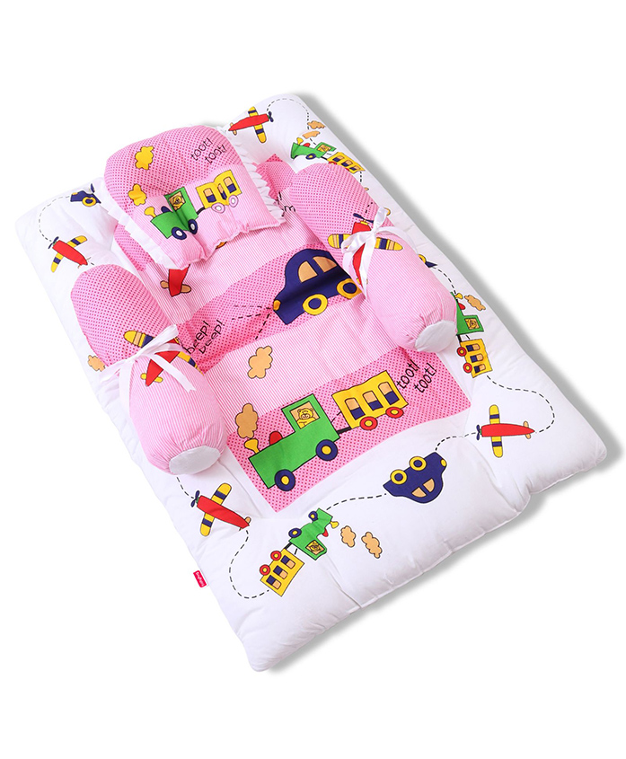 Babyhug Gadda Set Big Transport Print - Pink