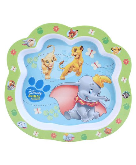 Disney Animal Friends Plate - Green And Blue
