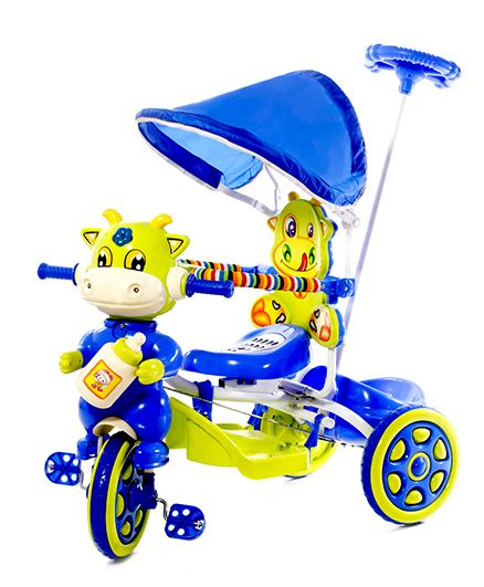Luusa Hunny Bunny Cow Design Tricycle - Blue & Green