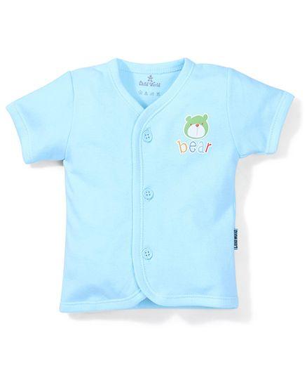 Child World Half Sleeves Vest Bear Print - Cyan