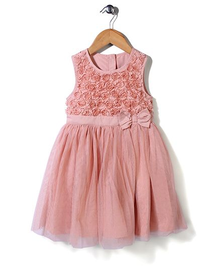 Mothercare Sleeveless Party Frock Bow Applique - Peach