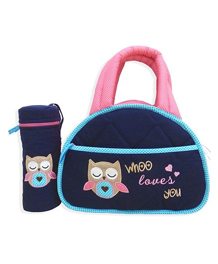 Little Pipal Whoo Loves You Diaper Bag Caddy And Bottle Cover - Navy Blue